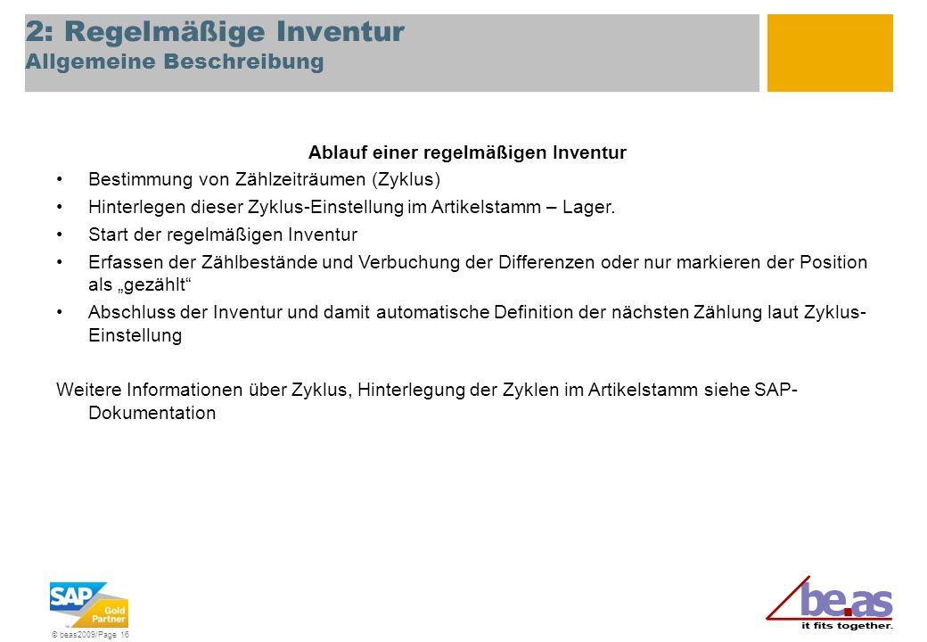 2: Regelmäßige Inventur Allgemeine Beschreibung