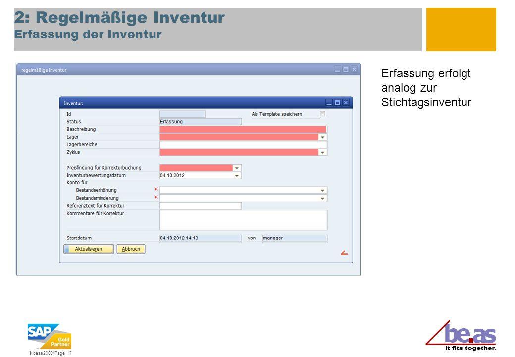 2: Regelmäßige Inventur Erfassung der Inventur