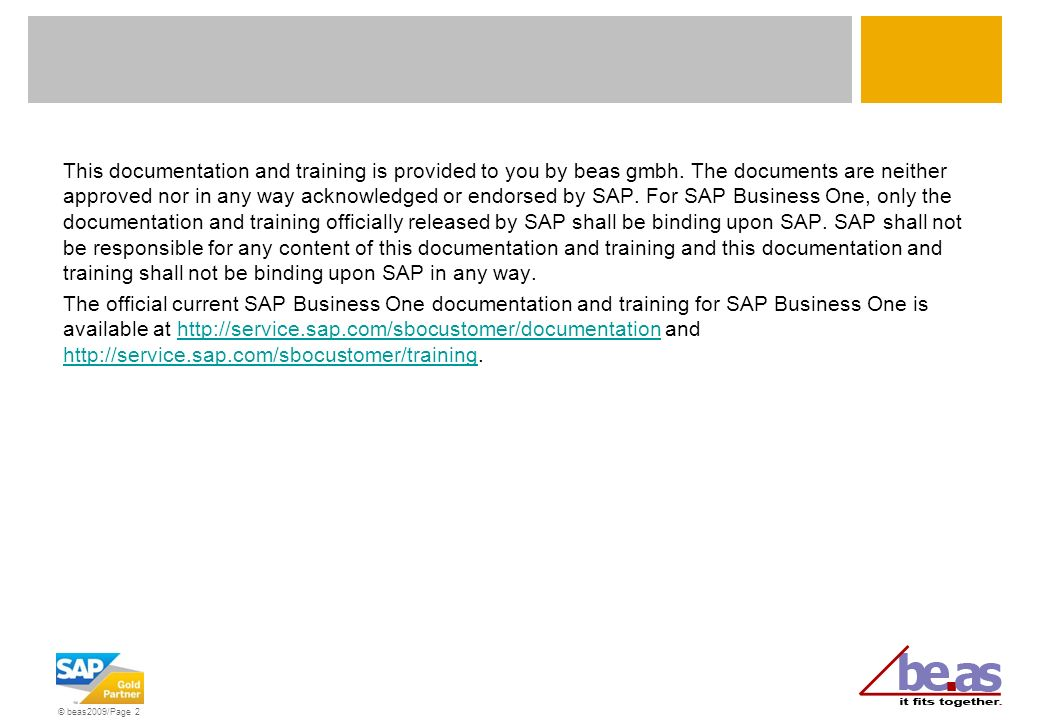 This documentation and training is provided to you by beas gmbh