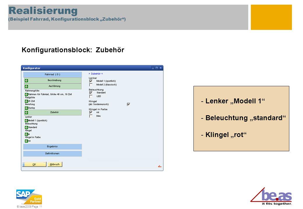 """Realisierung (Beispiel Fahrrad, Konfigurationsblock """"Zubehör )"""