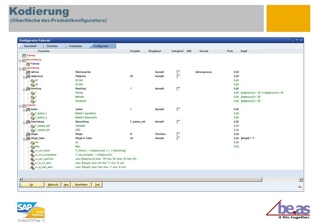 Kodierung (Oberfläche des Produktkonfigurators)