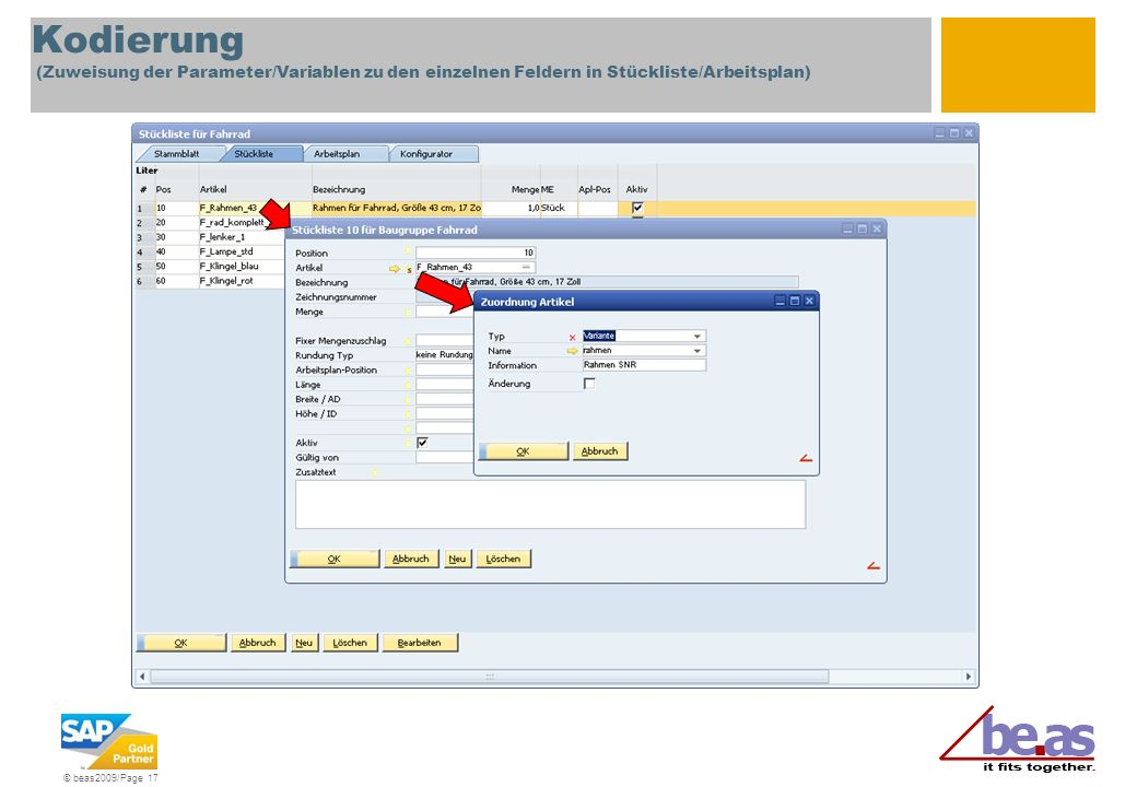 Kodierung (Zuweisung der Parameter/Variablen zu den einzelnen Feldern in Stückliste/Arbeitsplan)