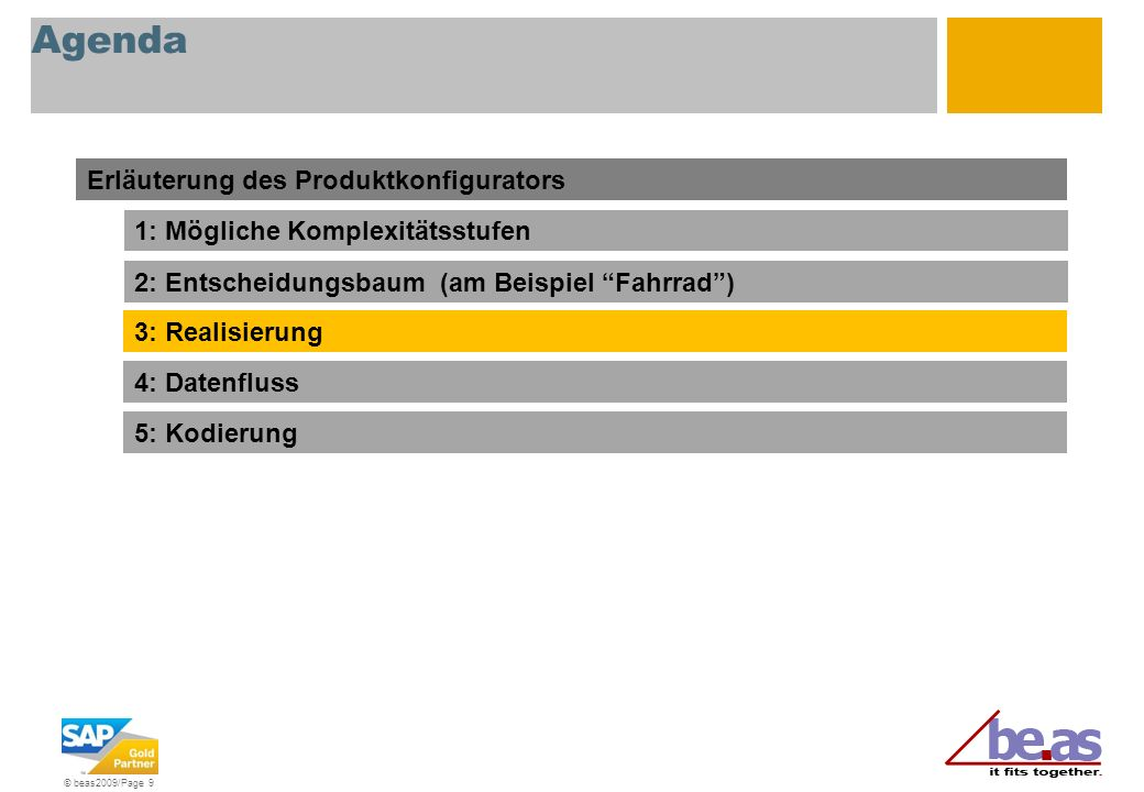 Agenda Erläuterung des Produktkonfigurators