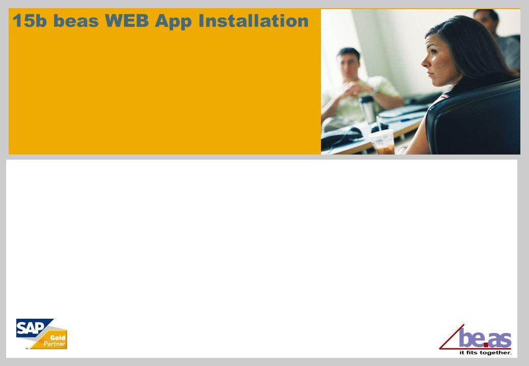 15b beas WEB App Installation