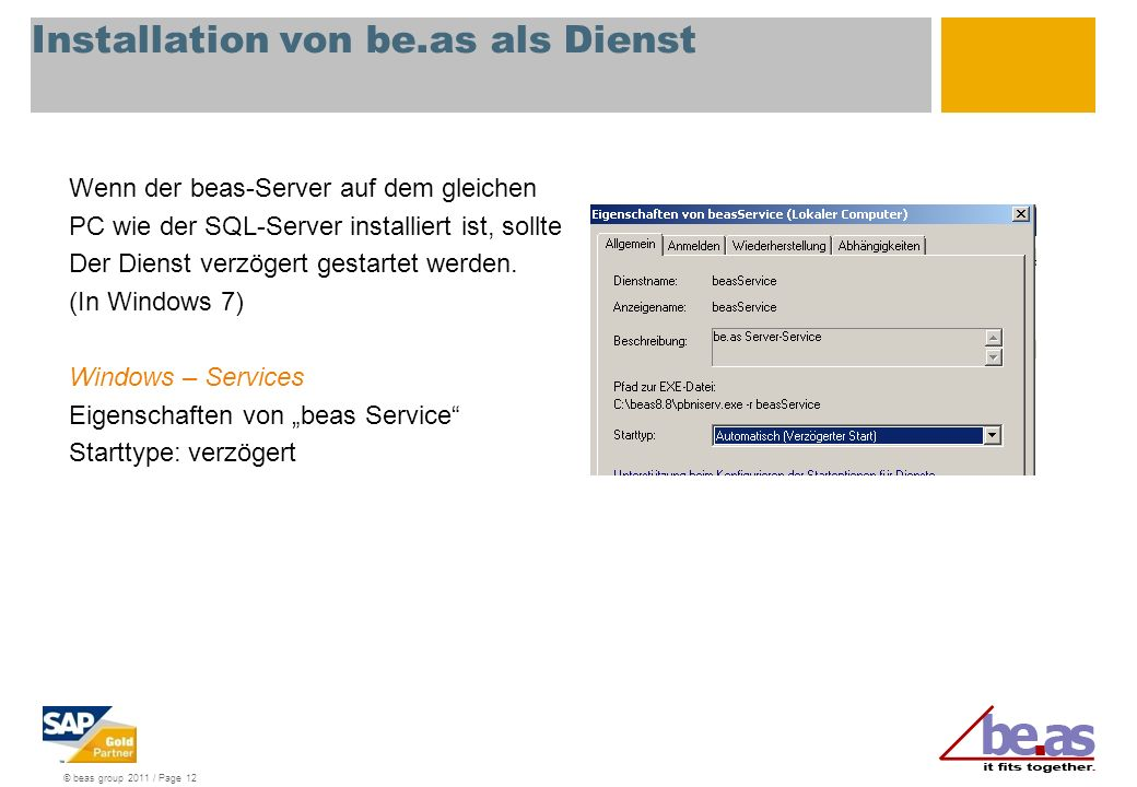 Installation von be.as als Dienst