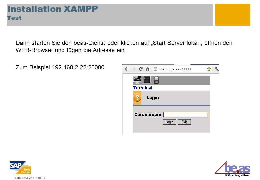Installation XAMPP Test