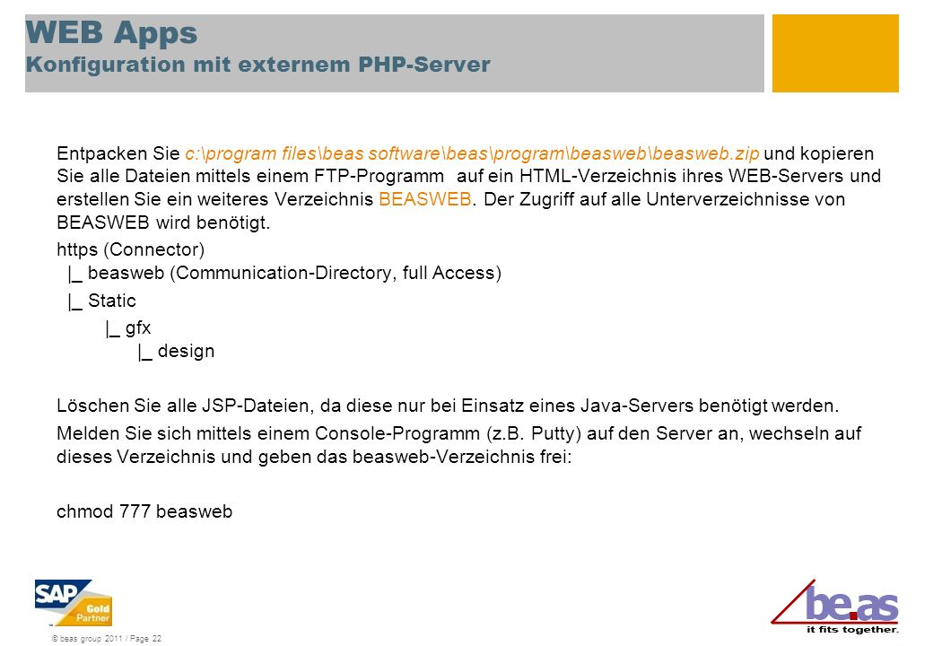 WEB Apps Konfiguration mit externem PHP-Server