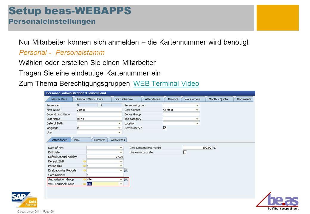 Setup beas-WEBAPPS Personaleinstellungen