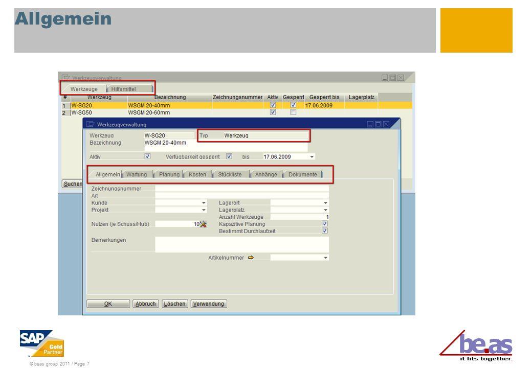Allgemein Allgemein: Verwaltung von Allgemeinen und Kapazitätsrelevanten Informationen.