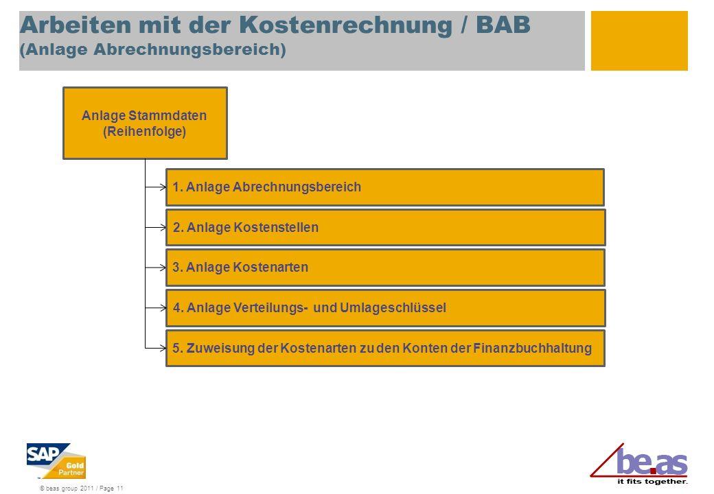 Arbeiten mit der Kostenrechnung / BAB (Anlage Abrechnungsbereich)