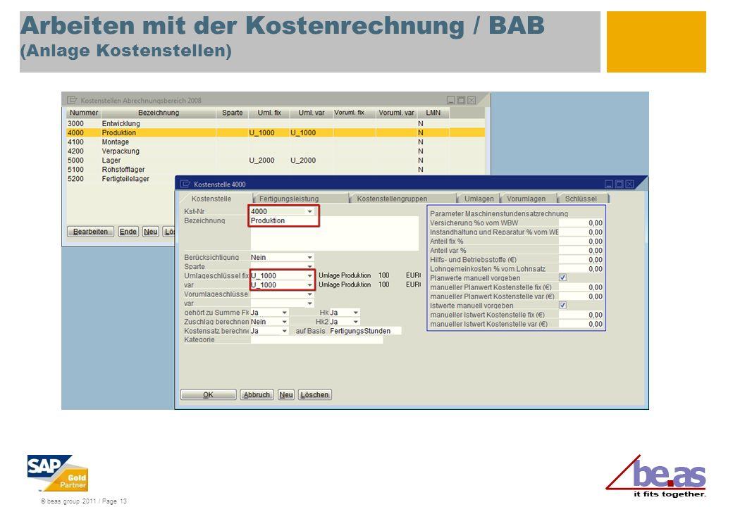 Arbeiten mit der Kostenrechnung / BAB (Anlage Kostenstellen)