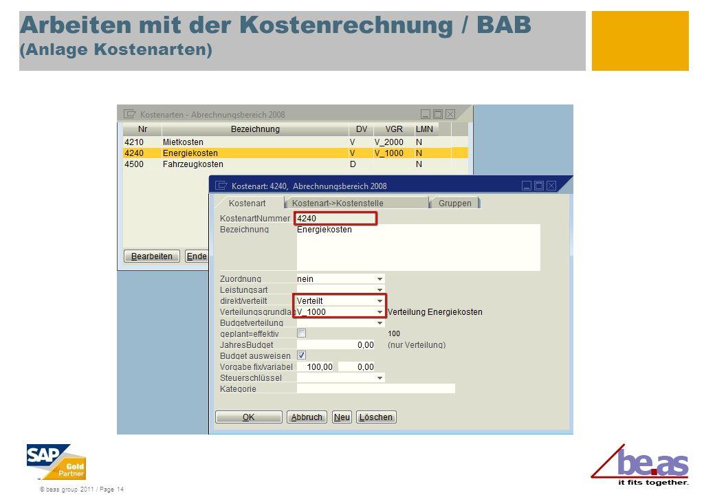 Arbeiten mit der Kostenrechnung / BAB (Anlage Kostenarten)