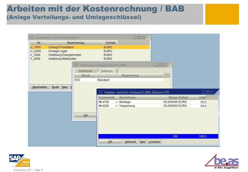 Arbeiten mit der Kostenrechnung / BAB (Anlage Verteilungs- und Umlageschlüssel)