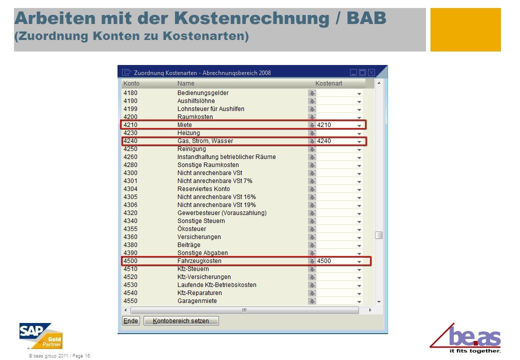 Arbeiten mit der Kostenrechnung / BAB (Zuordnung Konten zu Kostenarten)