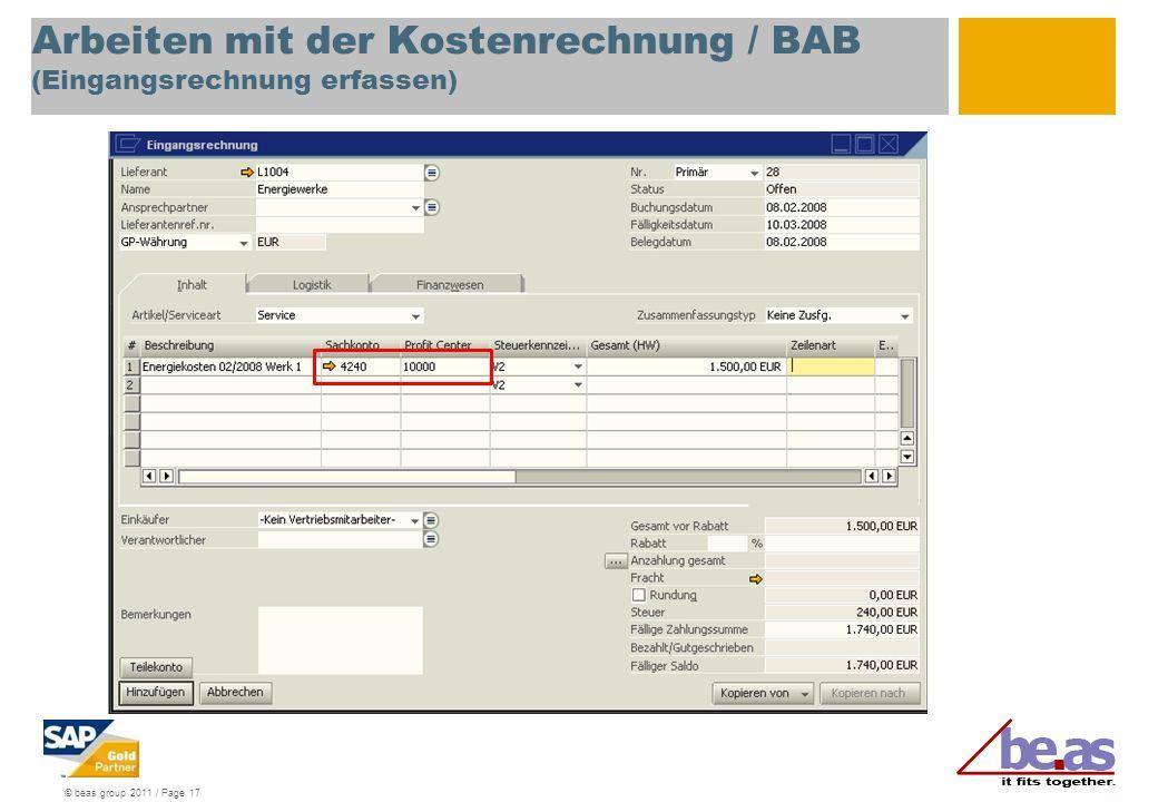 Arbeiten mit der Kostenrechnung / BAB (Eingangsrechnung erfassen)