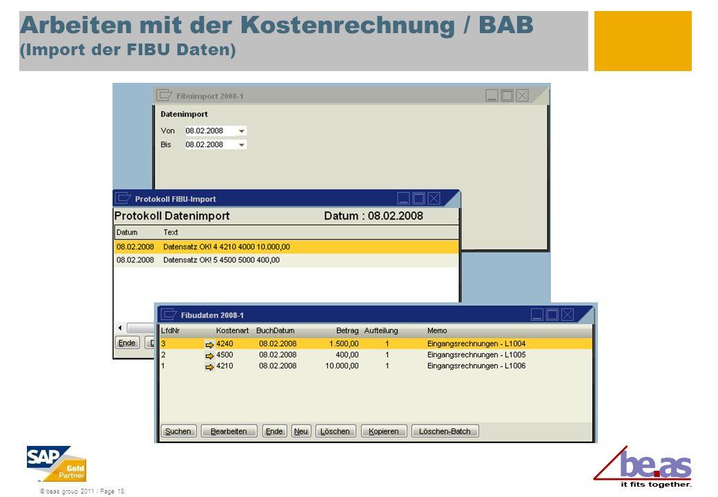 Arbeiten mit der Kostenrechnung / BAB (Import der FIBU Daten)