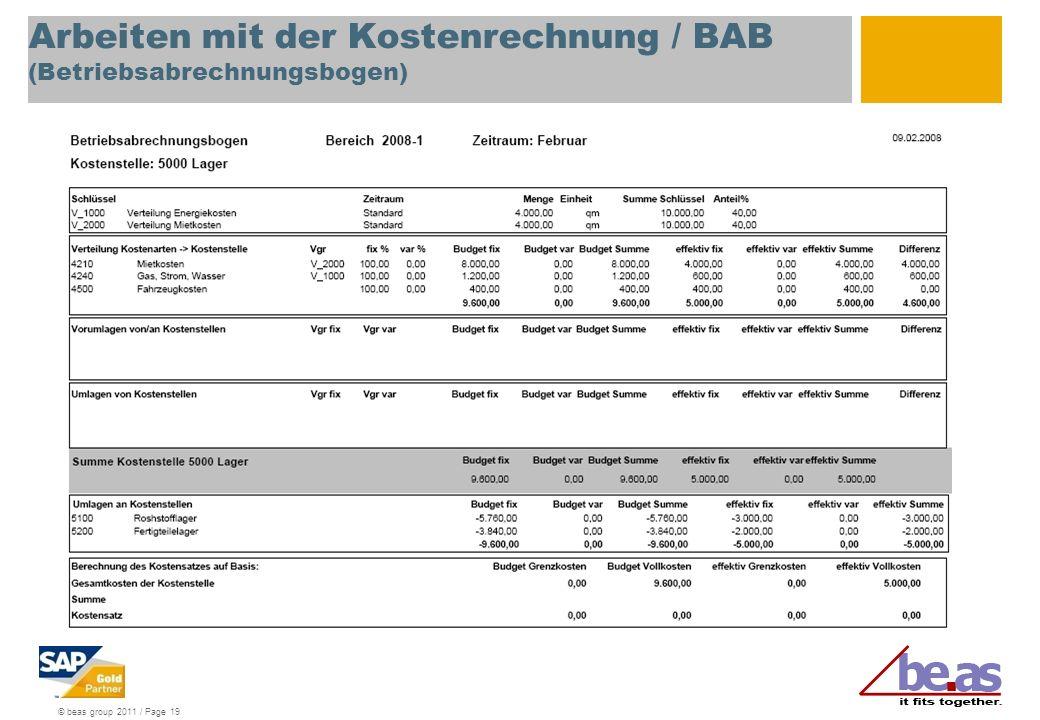 Arbeiten mit der Kostenrechnung / BAB (Betriebsabrechnungsbogen)