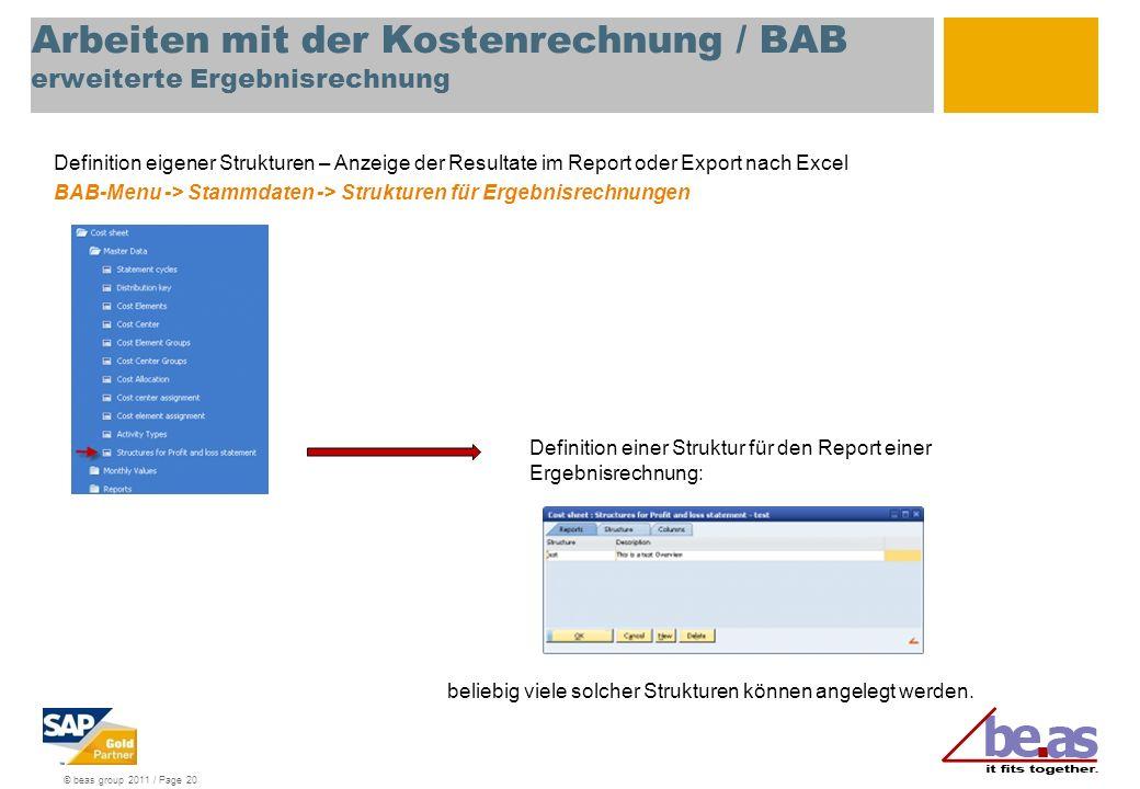 Arbeiten mit der Kostenrechnung / BAB erweiterte Ergebnisrechnung
