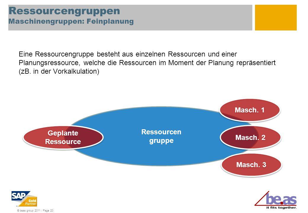 Ressourcengruppen Maschinengruppen: Feinplanung