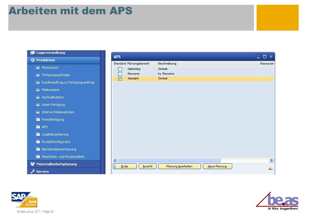 Arbeiten mit dem APS APS starten: drei Planungsbereiche stehen im Standard zur Verfügung: Optimierung: Ressourcenoptimierte Planung.