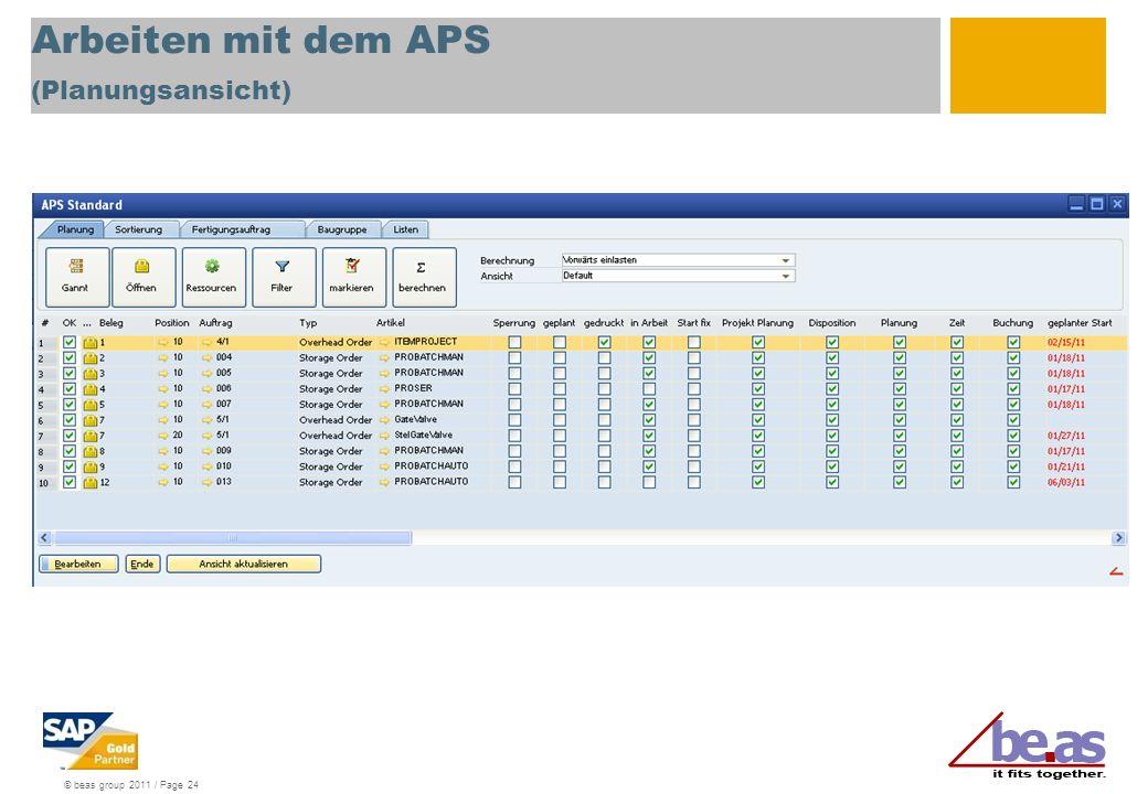 Arbeiten mit dem APS (Planungsansicht)