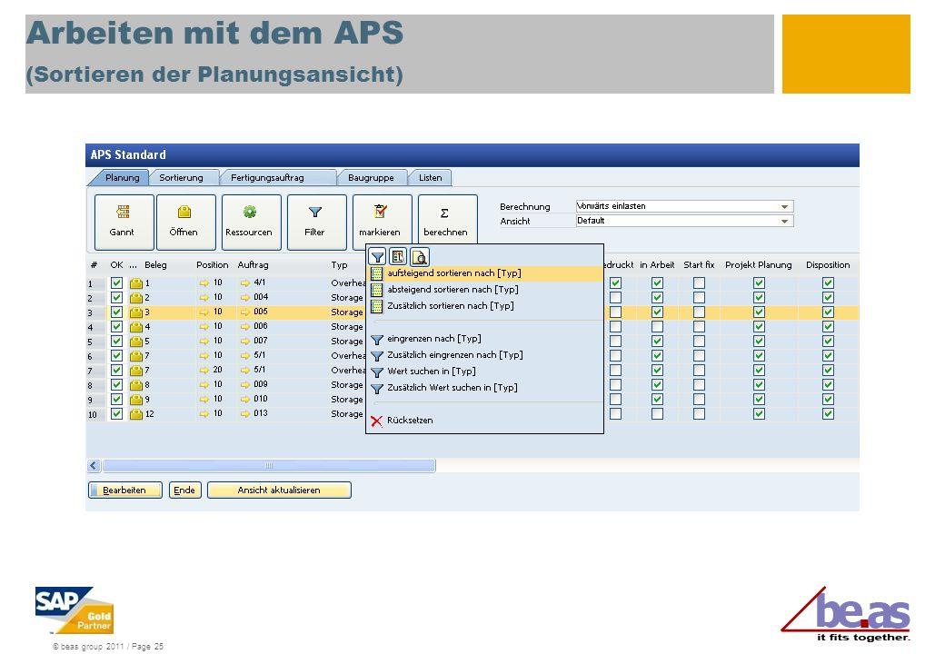 Arbeiten mit dem APS (Sortieren der Planungsansicht)