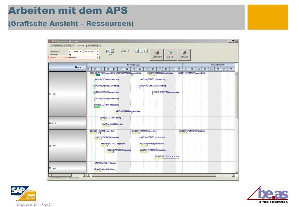 Arbeiten mit dem APS (Grafische Ansicht – Ressourcen)