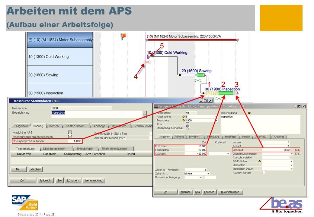 Arbeiten mit dem APS (Aufbau einer Arbeitsfolge)