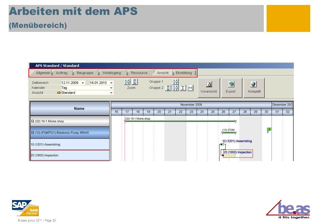 Arbeiten mit dem APS (Menübereich)