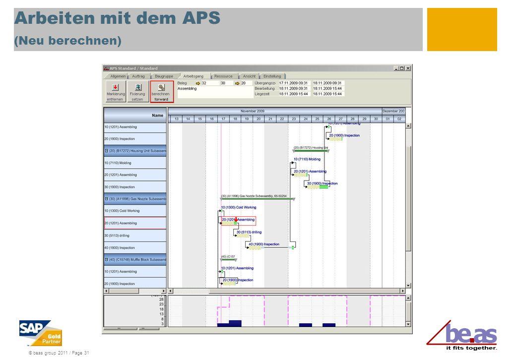 Arbeiten mit dem APS (Neu berechnen)