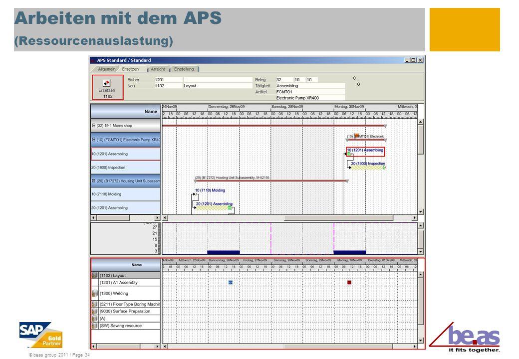 Arbeiten mit dem APS (Ressourcenauslastung)