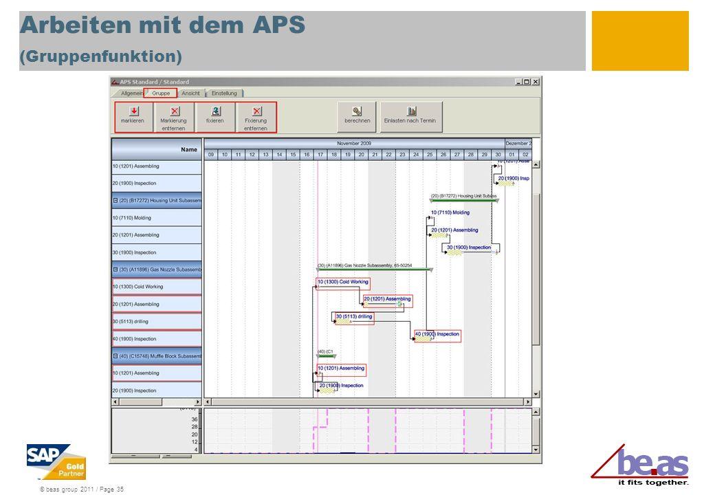 Arbeiten mit dem APS (Gruppenfunktion)