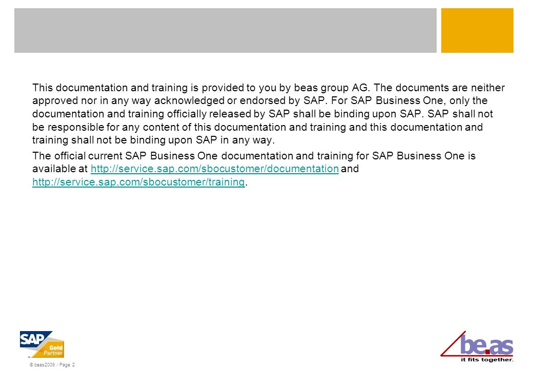 This documentation and training is provided to you by beas group AG