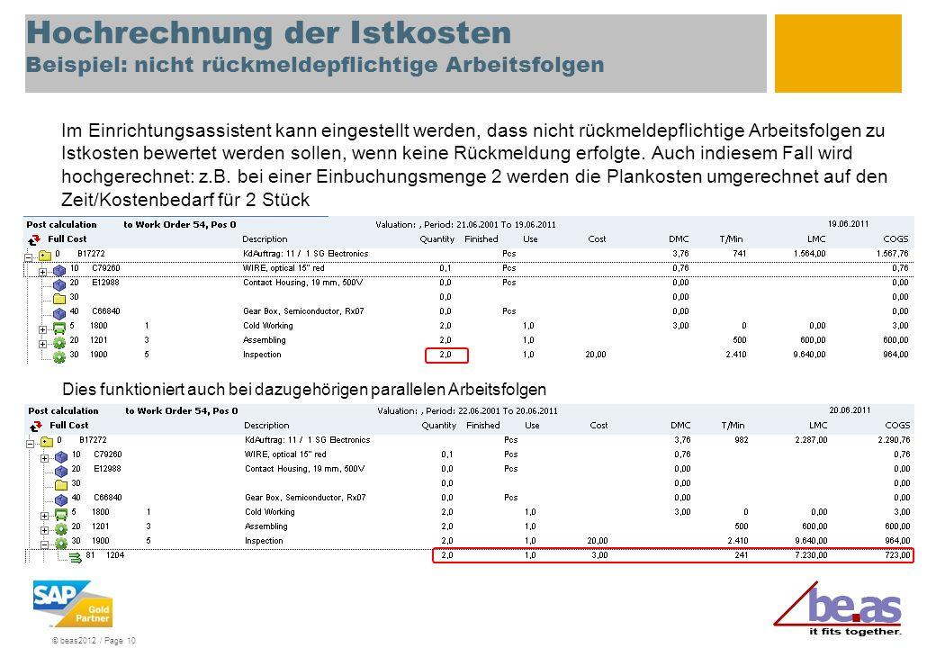Hochrechnung der Istkosten Beispiel: nicht rückmeldepflichtige Arbeitsfolgen