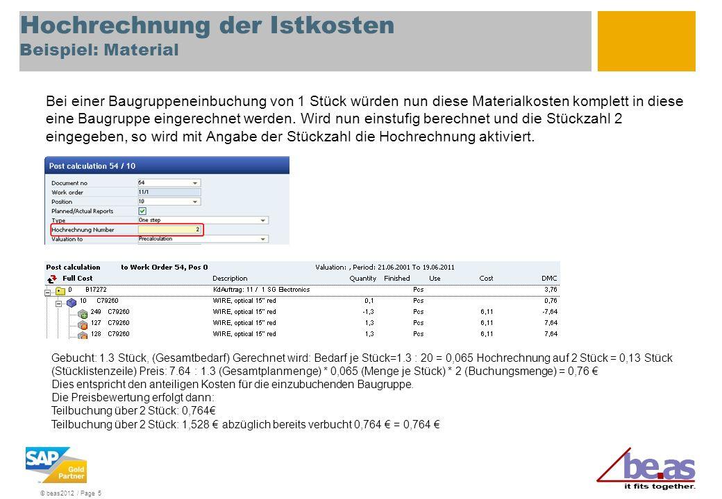 Hochrechnung der Istkosten Beispiel: Material