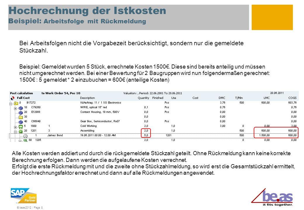 Hochrechnung der Istkosten Beispiel: Arbeitsfolge mit Rückmeldung