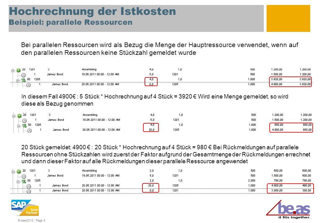Hochrechnung der Istkosten Beispiel: parallele Ressourcen
