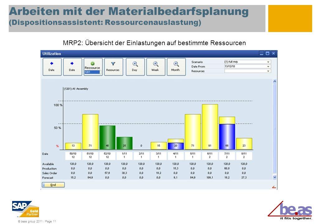 Arbeiten mit der Materialbedarfsplanung (Dispositionsassistent: Ressourcenauslastung)