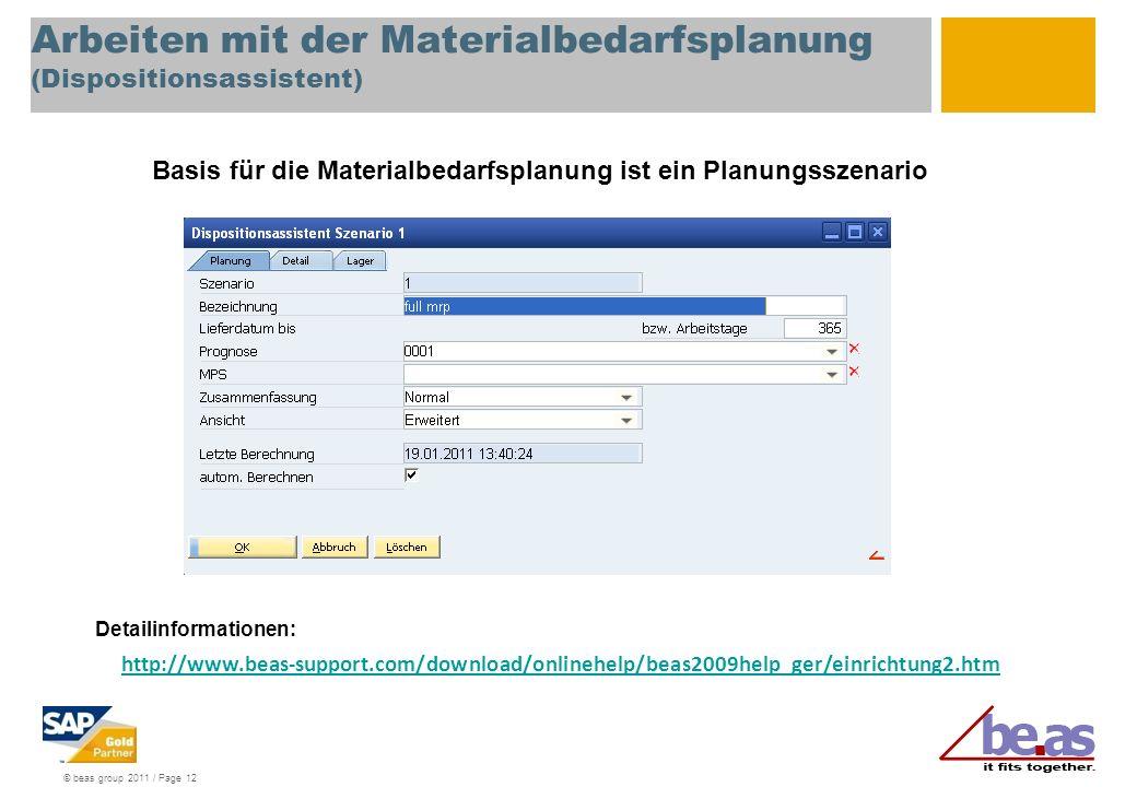 Arbeiten mit der Materialbedarfsplanung (Dispositionsassistent)