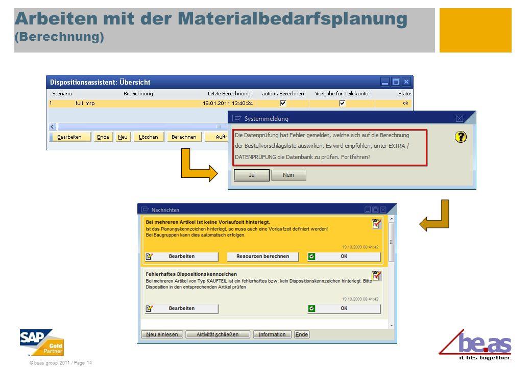 Arbeiten mit der Materialbedarfsplanung (Berechnung)