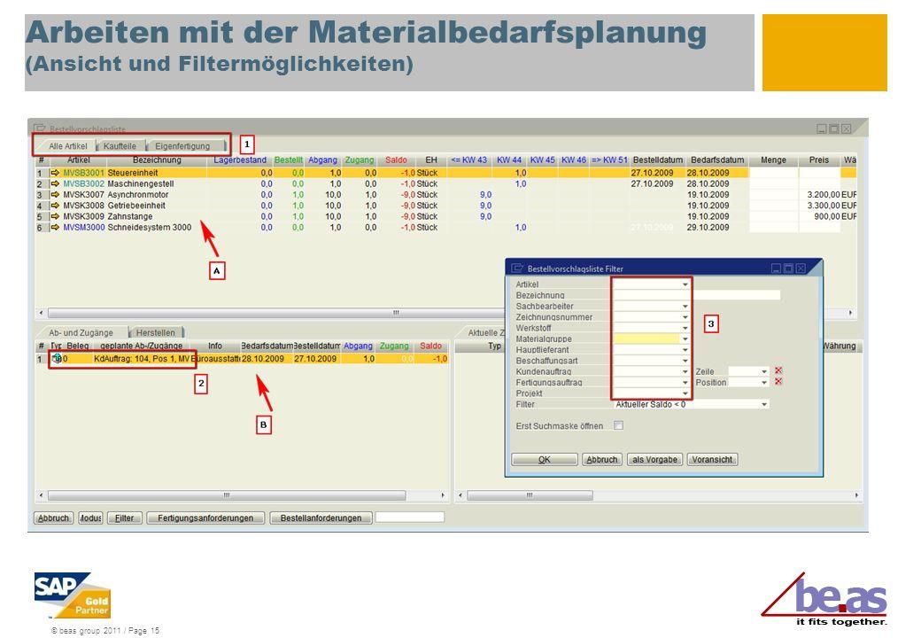 Arbeiten mit der Materialbedarfsplanung (Ansicht und Filtermöglichkeiten)