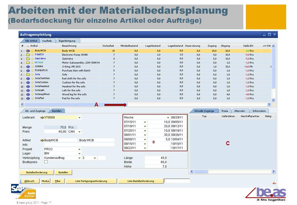 Arbeiten mit der Materialbedarfsplanung (Bedarfsdeckung für einzelne Artikel oder Aufträge)