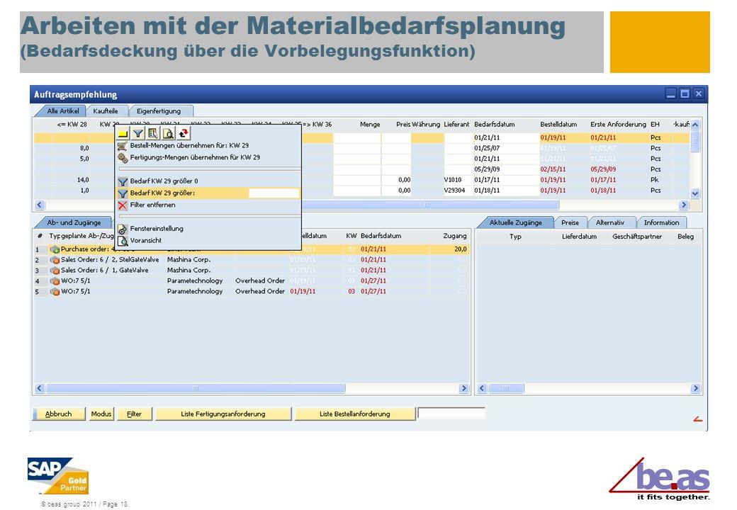 Arbeiten mit der Materialbedarfsplanung (Bedarfsdeckung über die Vorbelegungsfunktion)