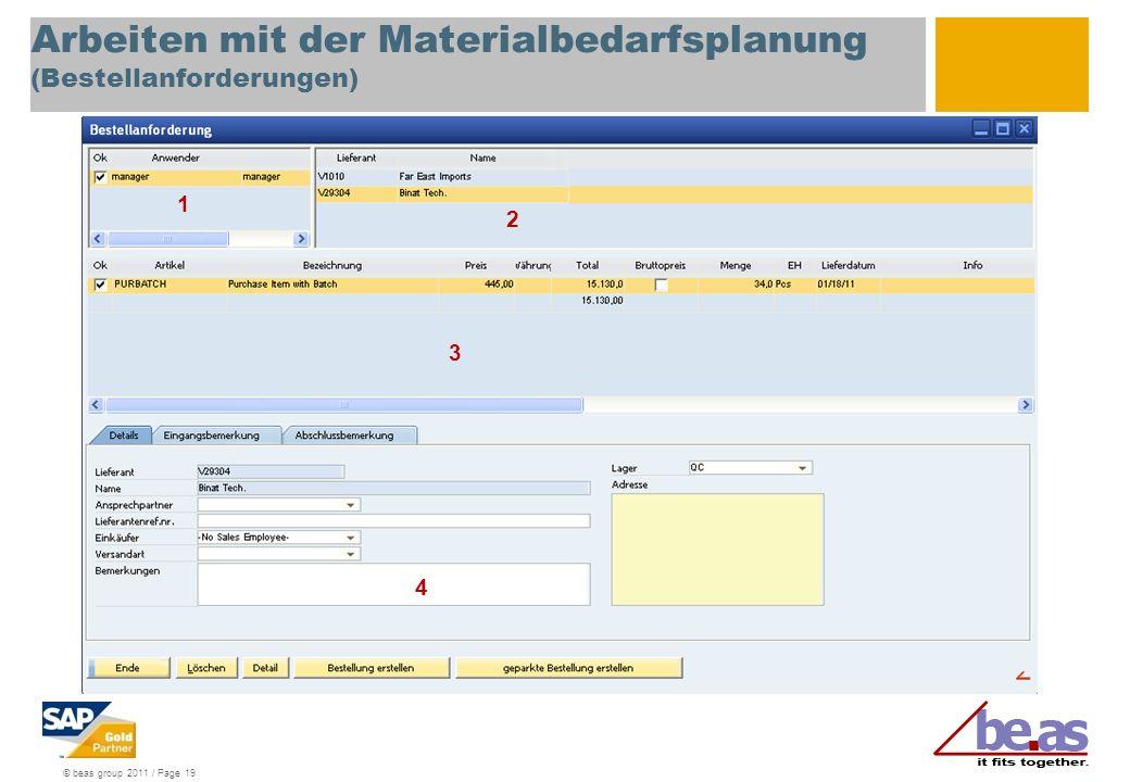 Arbeiten mit der Materialbedarfsplanung (Bestellanforderungen)