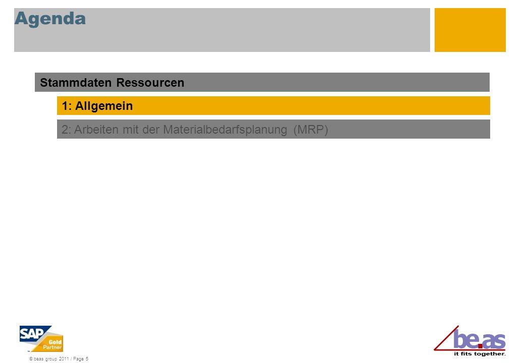 Agenda Stammdaten Ressourcen 1: Allgemein