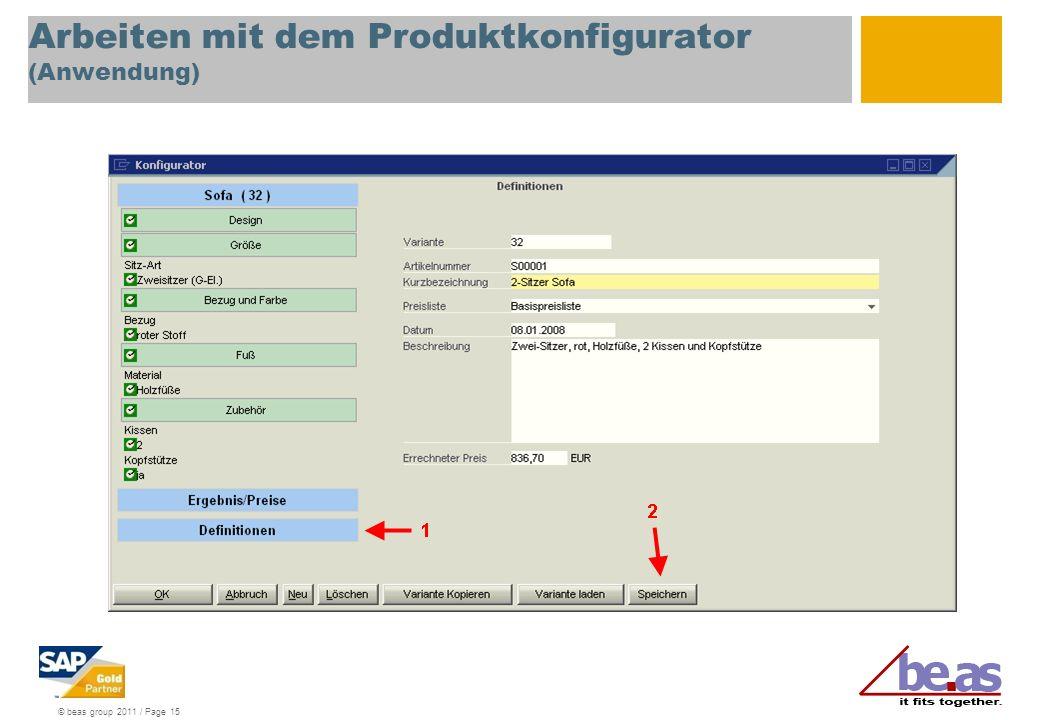 Arbeiten mit dem Produktkonfigurator (Anwendung)
