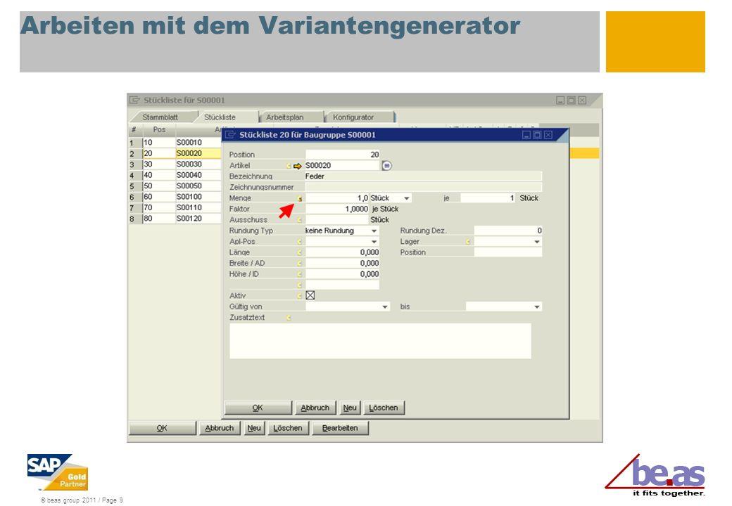Arbeiten mit dem Variantengenerator
