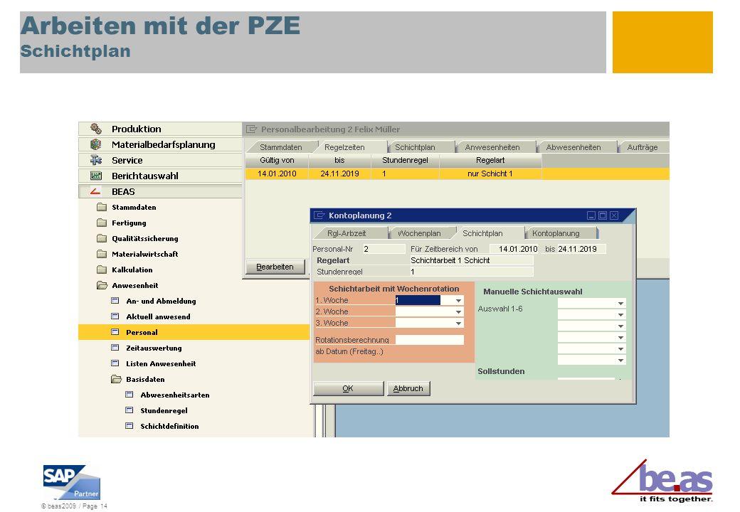 Arbeiten mit der PZE Schichtplan