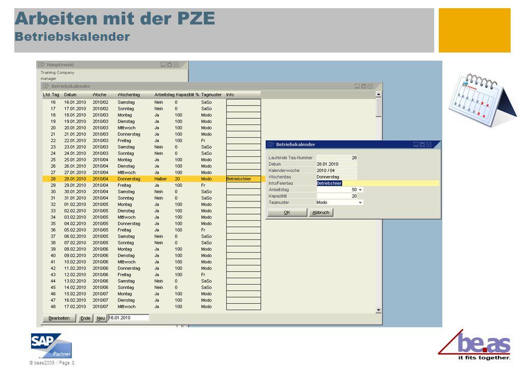 Arbeiten mit der PZE Betriebskalender