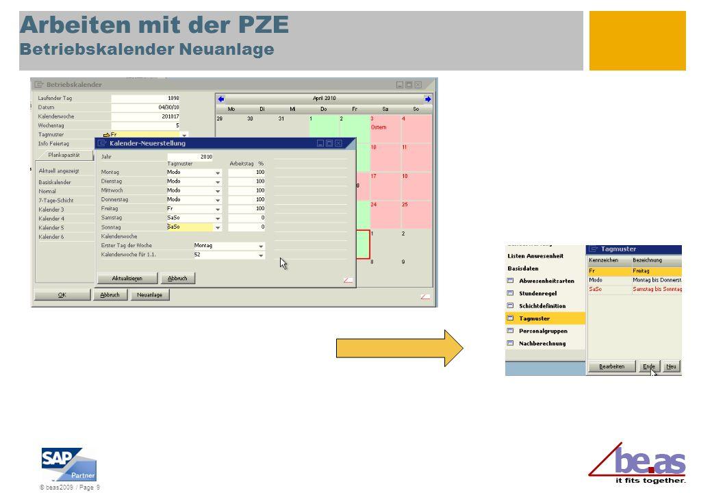 Arbeiten mit der PZE Betriebskalender Neuanlage